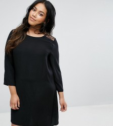 Yumi Plus Swing Dress With Lace Insert And Flare Sleeves - Black