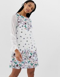 Yumi shift dress in floral and butterfly border print - Multi