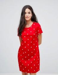 Yumi Shift Dress In Mini Boat Print - Red