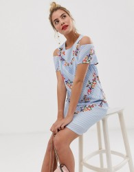 Yumi shift dress with cold shoulder detail in stripe and floral print - Multi