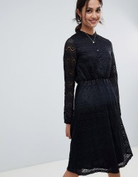 Yumi shirt dress in lace - Black