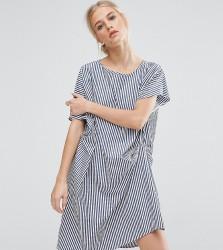 ZACRO Draped Shift Dress In Stripe - Blue