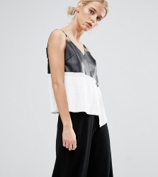 ZACRO Leather Look Cami With Metal Hardware Trims - Black