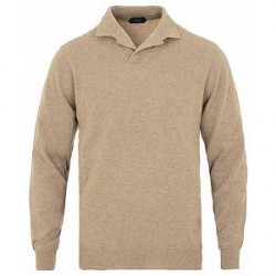 Zanone Cashmere Long Sleeve Polo Light Brown