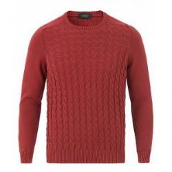 Zanone Cotton Cable Sweater Bordeaux Red