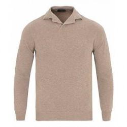 Zanone Cotton Crep Long Sleeve Polo Beige