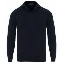 Zanone Cotton Crep Long Sleeve Polo Navy