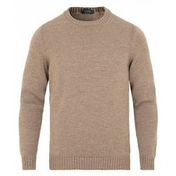 Zanone Virgin Merino Wool Crew Neck Light Brown