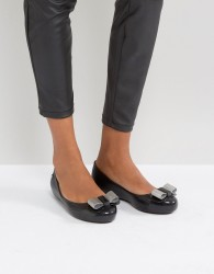 Zaxy by Melissa Bow Trim Ballerina - Black