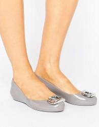 Zaxy Pop Charm Ballerina Pumps - Grey