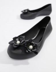 Zaxy Pop Pearl Flower Ballerinas - Black