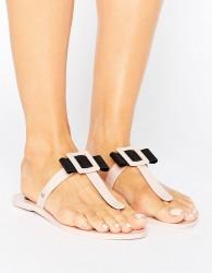 Zaxy Tbar Flip Flops - Beige
