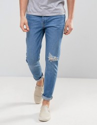 Zeffer Mid Indigo Wash Skinny Jeans with Unrolled Hems - Blue