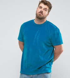 Zeffer PLUS Oversized Velour T-Shirt - Blue
