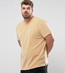 Zeffer PLUS Oversized Velour T-Shirt - Tan