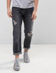 Zeffer Ripped Skater Fit Jeans in Washed Black - Black