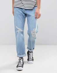 Zeffer Skater fit Jeans in Light Indigo Bleach Wash - Blue