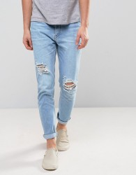 Zeffer Skinny Ripped Jeans in Light Indigo Bleach Wash - Blue