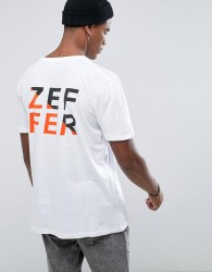 Zeffer Split Back Print T-Shirt - White
