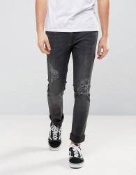 Zeffer Stretch Skinny Ripped Jeans in Washed Black - Black