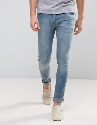 Zeffer Super Skinny Spray On Jeans in Light Indigo Wash - Blue
