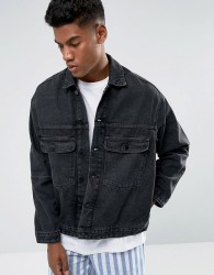 Zeffer Trucker Style Denim Jacket in Washed Black - Black