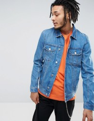 Zeffer Western Style Denim Jacket in Mid Wash - Blue