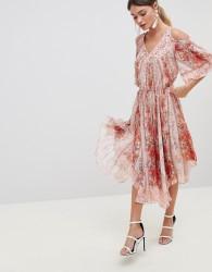 Zibi Cold Shoulder Printed Dress - Multi