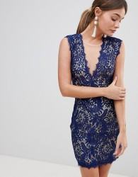 Zibi Lace Bodycon Mini Dress - Blue