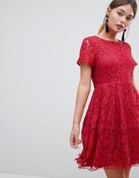 Zibi Lace Skater Dress - Red