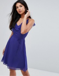 Zibi London Belted Skater Dress With Frill Overlay - Blue