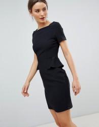Zibi London Capped Sleeve Pencil Dress With Pocket Detail - Black