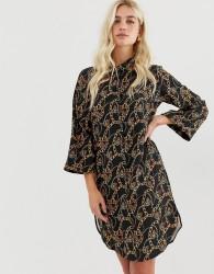 Zibi London chain patterned shirt dress - Black