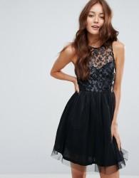 Zibi London Faux Leather Skirt Skater Dress - Black