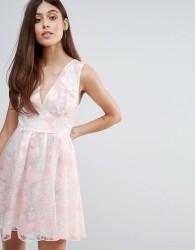 Zibi London Flocked Print Organza Dress - Pink