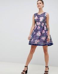 Zibi London Floral & Striped Skater Dress - Navy