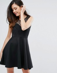 Zibi London Lace Trim Skirt Skater Dress - Black