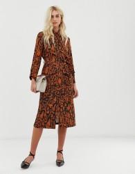 Zibi London leopard print shirt dress with belt detail - Brown