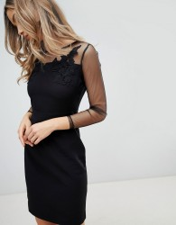 Zibi London Mesh Sleeve Bodycon Dress - Black