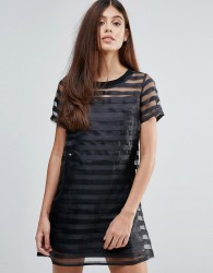 Zibi London Organze Dress With Sheer Stripes - Black