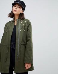 Zibi London parka jacket with embellished detail - Green
