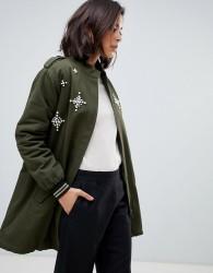 Zibi London parka jacket with embellished star detail - Green