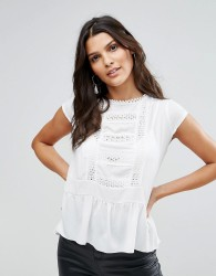 Zibi London Pep Hem Top With Lace Trim - White