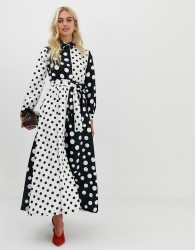 Zibi London polka dot print shirt dress - Black