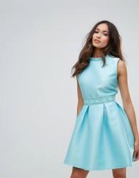 Zibi London Scuba Skater Mini Dress - Blue