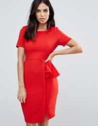 Zibi London Short Sleeve Pencil Dress With Side Ruffle - Red