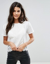 Zibi London Short Sleeve Top With Crochet Trim - White
