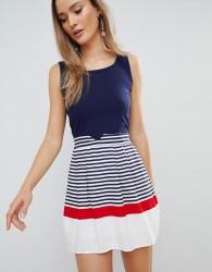 Zibi London Skater Dress With Striped Skirt - Multi