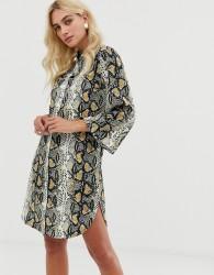 Zibi London snake print shirt dress with belt detail - Beige