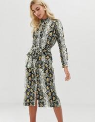 Zibi London snake print shirt midi dress with belt detail - Beige